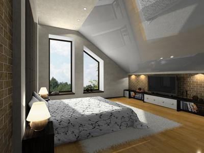 屋根勾配を逆に生かしたカッコイイ寝室.jpg